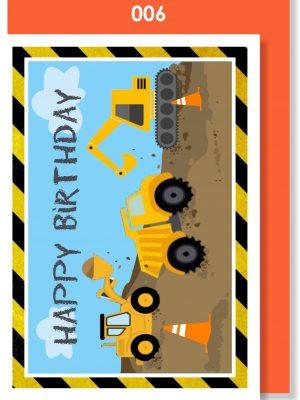 Handmade card, Birthday card, Construction