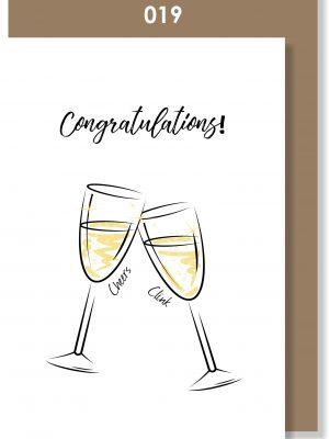 Handmade card, Champagne, Celebration, Congratulations