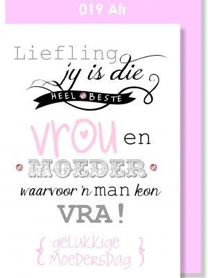 Handmade Card, Afrikaans Card, Moedersdag