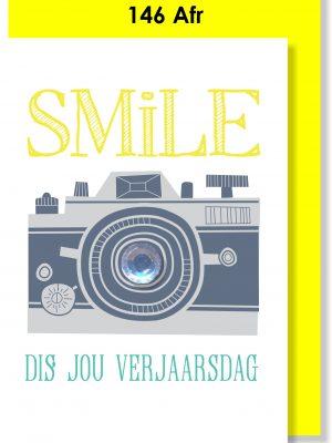 Handmade Card, Birthday Card, SMILE, Camera, Afrikaans Card, Verjaarsdagkaartjie