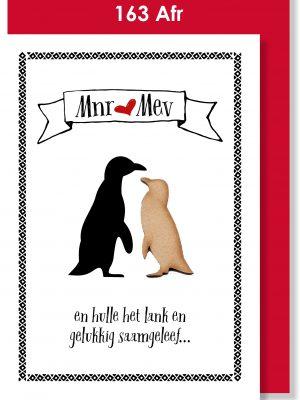 Handmade card, Afrikaans card, Troukaartjie, pikkewyn