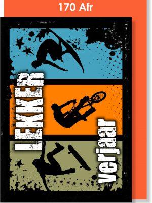 Handmade Card, Birthday Card, Teenage Boy, Skateboard, BMX, Mountain Bike, Surfer, Afrikaans Card. Verjaarsdagkaartjie