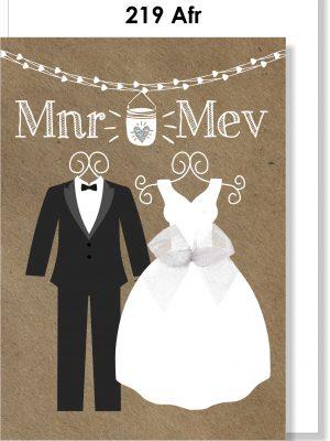 Handmade card, Afrikaans card, Troukaartjie, Mnr & Mev