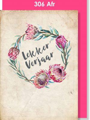 Handmade Cards, Birthday Cards, Afrikaans Card, Protea, Verjaarsdagkaartjie