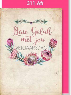 Handmade Card, Birthday Card, Afrikaans Card, Verjaarsdagkaartjie, Protea