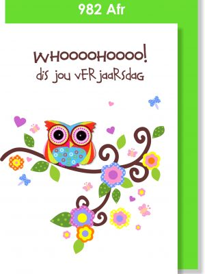 Handmade Card, Birthday Card, Afrikaans Card, Verjaarsdagkaartjie, Uil