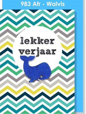 Handmade Card, Birthday Card, Afrikaans Card, Verjaarsdagkaartjie, Walvis