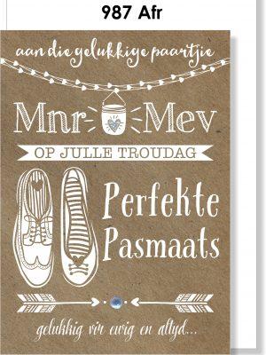 Handmade card, Afrikaans card, Troukaartjie, Pasmaats