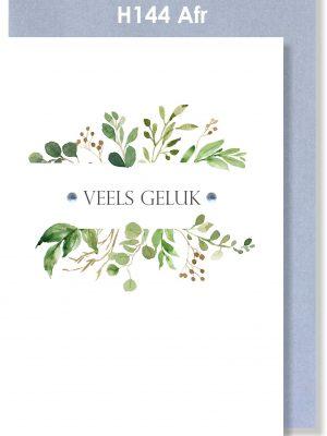 Handmade Card, Afrikaans Card, Congratulations, Veels Geluk, Botanical
