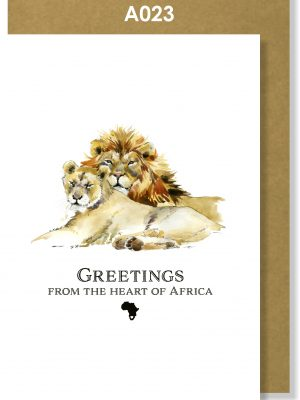 Greeting Card, Lions, African, Big 5