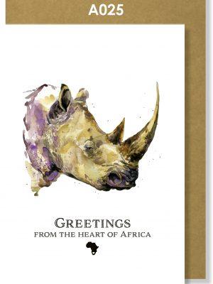Greeting Card, Rhino, African, Big 5