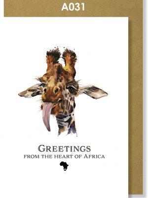 Greeting Card, Giraffe, African