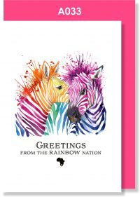 Greeting Card, Zebra, Rainbow Nation, South Africa