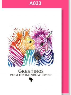 Greeting Card, Zebra, Rainbow Nation, South Africa