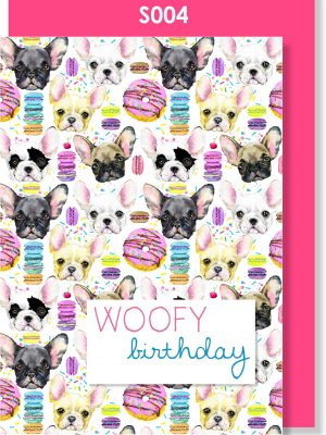 birthday card, happy birthday, french bulldog, cute
