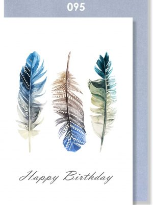 Handmade Card, Birthday Card, Feathers