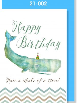 Handmade Greeting Card, Birthday Card, Whale