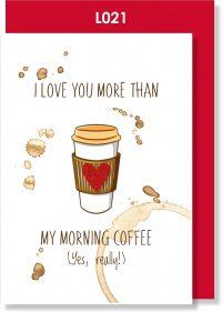 Handmade Greeting Card, Valentine's Card. Valentine's Day, Love, Coffee, Coffee lover