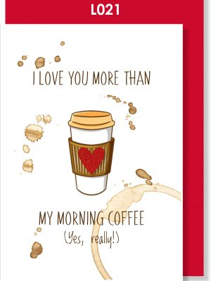 Handmade Greeting Card, Valentine's Card. Valentine's Day, Love, Coffee, Coffee lover