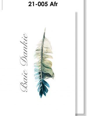Handmade card. Afrikaans, Baie Dankie, Veer