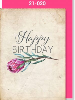 Handmade card, Protea, Birthday card