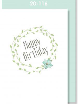 Handmade Card, Happy Birthday Wreath