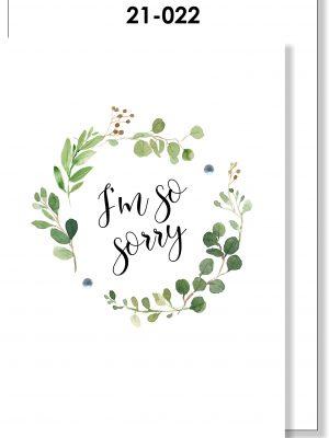 Handmade Card, I'm so sorry, Green Foliage Wreath