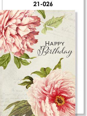 Handmade Card, Birthday, Peonies