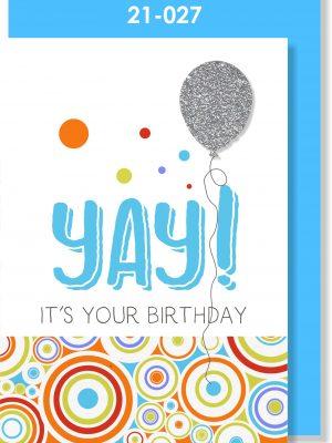 Handmade Card, Birthday Balloon, YAY