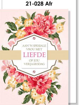 Handmade Card, Afrikaans, Verjaarsdag, Vroulik
